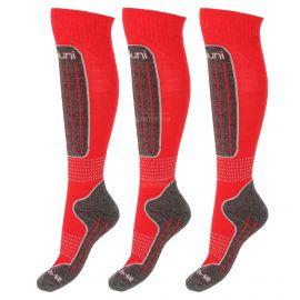 Deluni, 3 paar, calcetines de esquí, niños, rojo