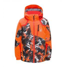 Spyder, Leader, chaqueta de esquí, niños, parallelagram print naranja